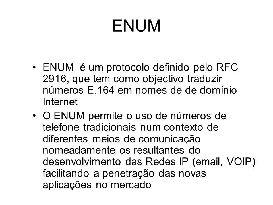 ENUM ENUM é um protocolo definido pelo RFC 2916, que tem como objectivo traduzir números E.164 em nomes de de domínio Internet O ENUM permite o uso de