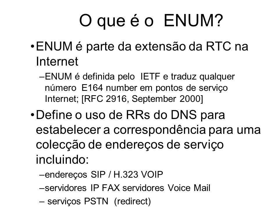 O que é o ENUM? ENUM é parte da extensão da RTC na Internet –ENUM é definida pelo IETF e traduz qualquer número E164 number em pontos de serviço Inter