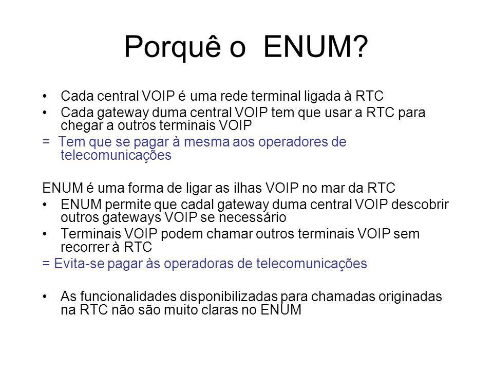 Porquê o ENUM? Cada central VOIP é uma rede terminal ligada à RTC Cada gateway duma central VOIP tem que usar a RTC para chegar a outros terminais VOI