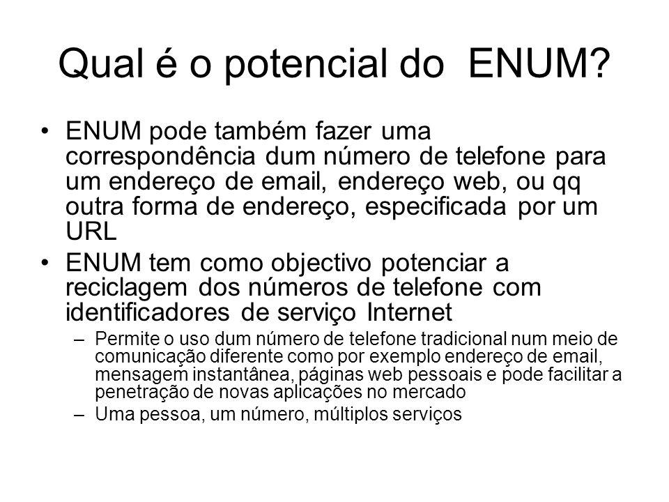 Qual é o potencial do ENUM? ENUM pode também fazer uma correspondência dum número de telefone para um endereço de email, endereço web, ou qq outra for