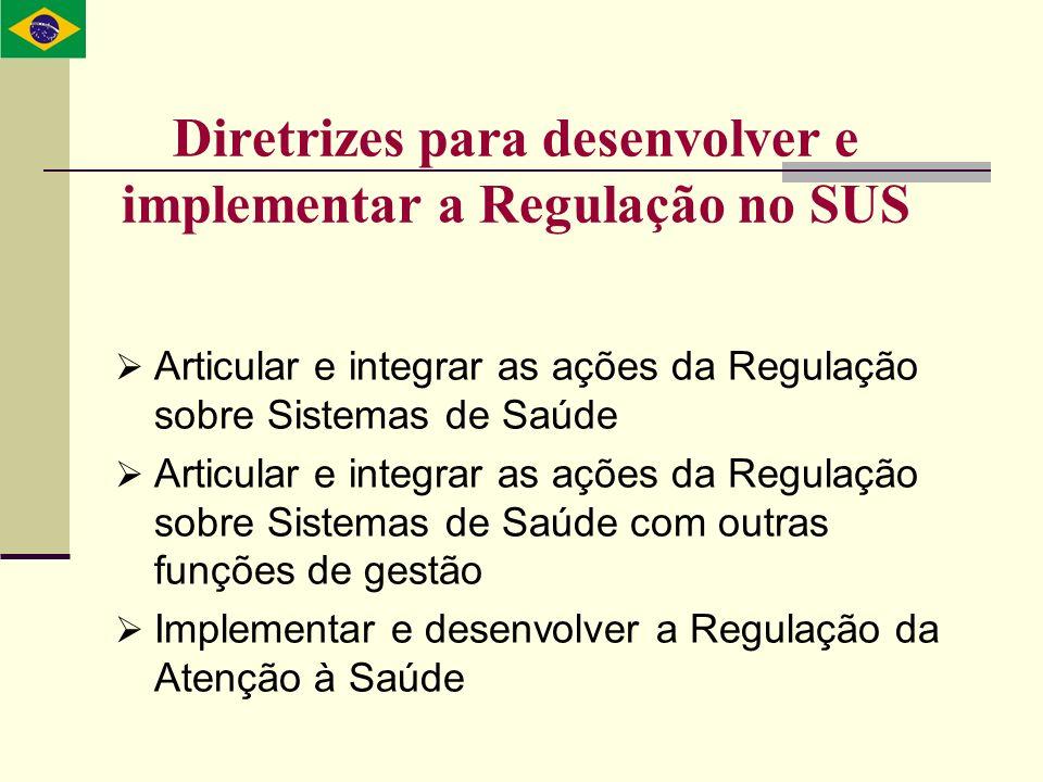 Diretrizes para desenvolver e implementar a Regulação no SUS Articular e integrar as ações da Regulação sobre Sistemas de Saúde Articular e integrar a