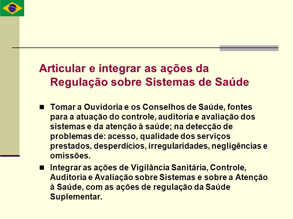 Articular e integrar as ações da Regulação sobre Sistemas de Saúde Tomar a Ouvidoria e os Conselhos de Saúde, fontes para a atuação do controle, audit