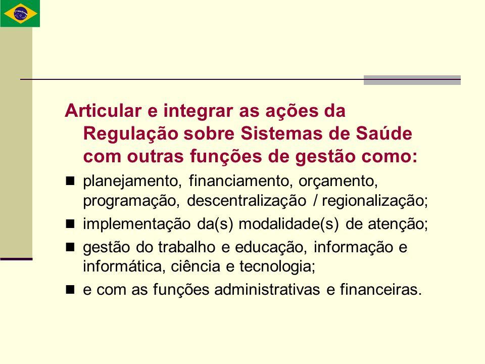 Articular e integrar as ações da Regulação sobre Sistemas de Saúde com outras funções de gestão como: planejamento, financiamento, orçamento, programa