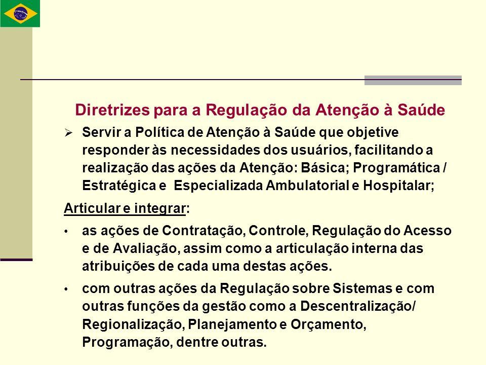 Diretrizes para a Regulação da Atenção à Saúde Servir a Política de Atenção à Saúde que objetive responder às necessidades dos usuários, facilitando a