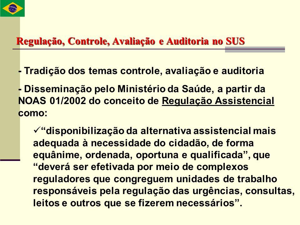 Regulação, Controle, Avaliação e Auditoria no SUS - Tradição dos temas controle, avaliação e auditoria - Disseminação pelo Ministério da Saúde, a part