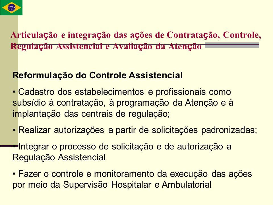 Reformulação do Controle Assistencial Cadastro dos estabelecimentos e profissionais como subsídio à contratação, à programação da Atenção e à implanta