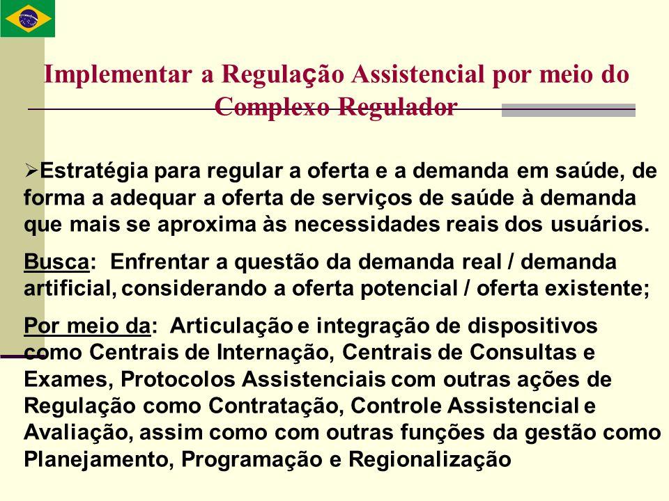Implementar a Regula ç ão Assistencial por meio do Complexo Regulador Estratégia para regular a oferta e a demanda em saúde, de forma a adequar a ofer