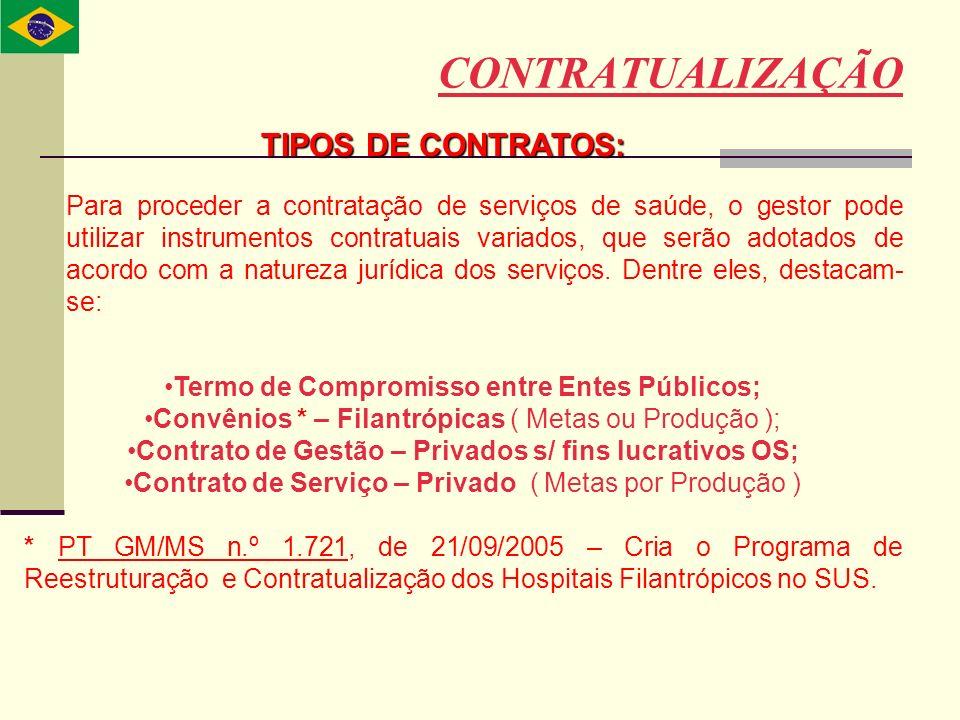 CONTRATUALIZAÇÃO TIPOS DE CONTRATOS: Para proceder a contratação de serviços de saúde, o gestor pode utilizar instrumentos contratuais variados, que s