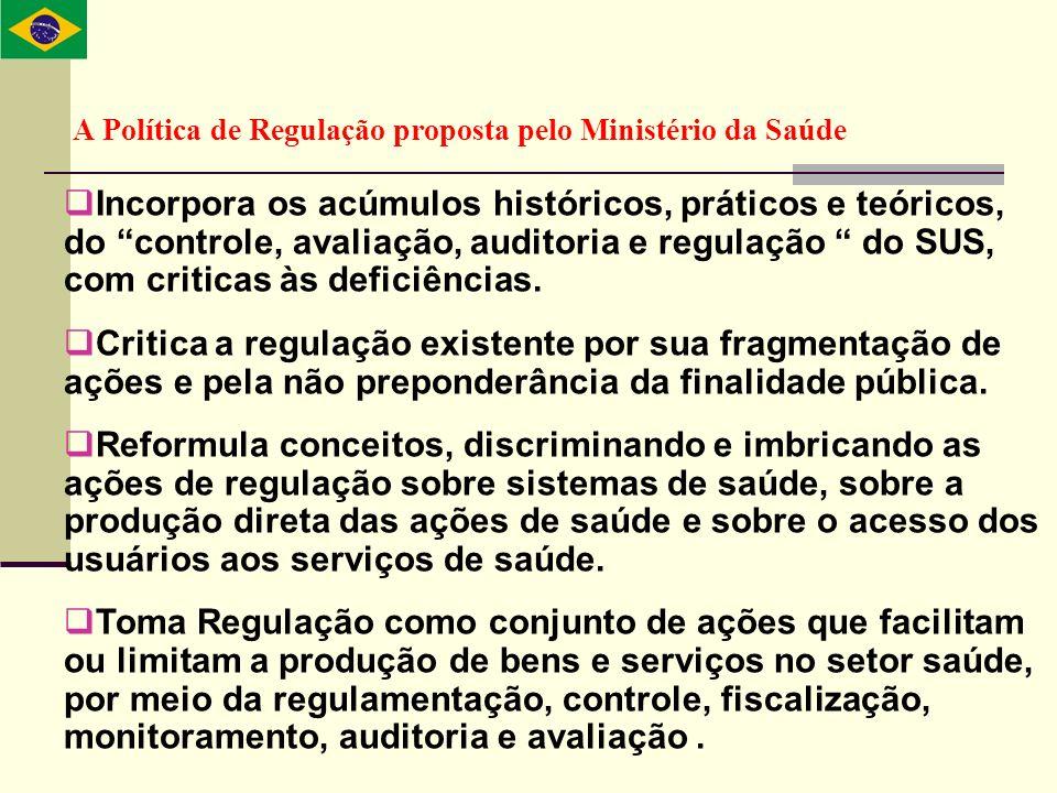 A Política de Regulação proposta pelo Ministério da Saúde Incorpora os acúmulos históricos, práticos e teóricos, do controle, avaliação, auditoria e r