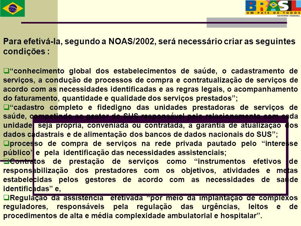 Para efetivá-la, segundo a NOAS/2002, será necessário criar as seguintes condições : conhecimento global dos estabelecimentos de saúde, o cadastrament