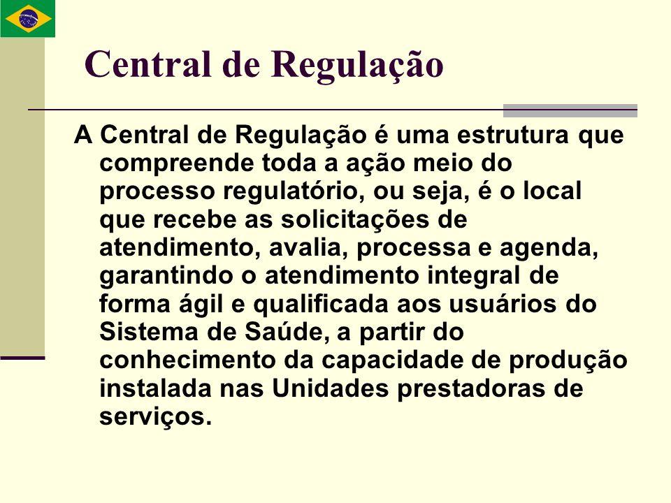 Central de Regulação A Central de Regulação é uma estrutura que compreende toda a ação meio do processo regulatório, ou seja, é o local que recebe as