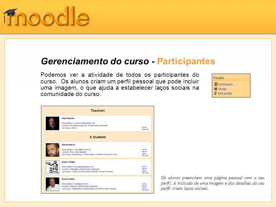Gerenciamento do curso - Participantes Podemos ver a atividade de todos os participantes do curso. Os alunos criam um perfil pessoal que pode incluir