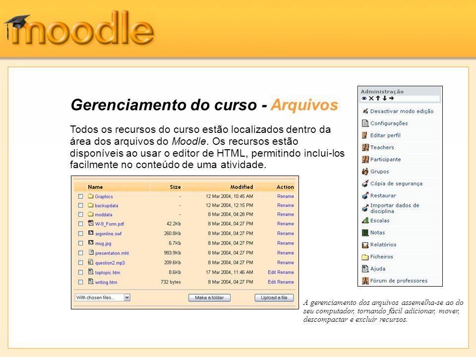 Gerenciamento do curso - Arquivos Todos os recursos do curso estão localizados dentro da área dos arquivos do Moodle. Os recursos estão disponíveis ao
