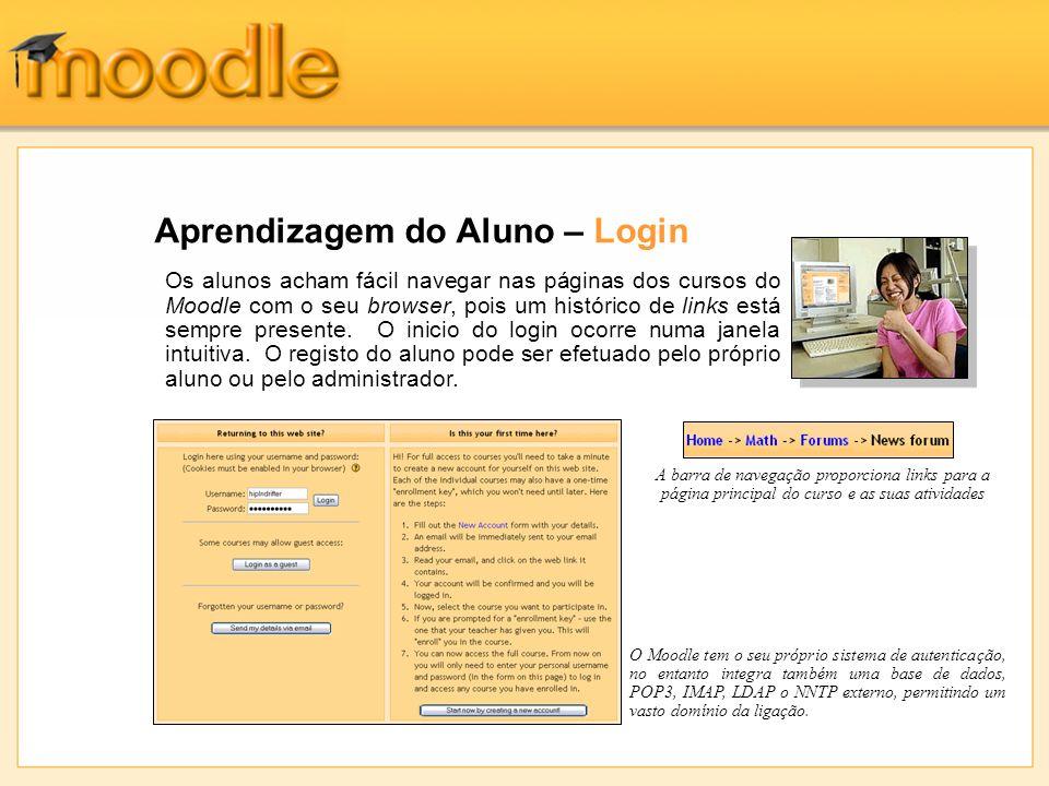 Aprendizagem do Aluno – Login Os alunos acham fácil navegar nas páginas dos cursos do Moodle com o seu browser, pois um histórico de links está sempre