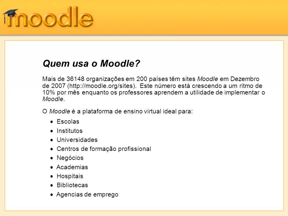 Mais de 36148 organizações em 200 países têm sites Moodle em Dezembro de 2007 (http://moodle.org/sites). Este número está crescendo a um ritmo de 10%