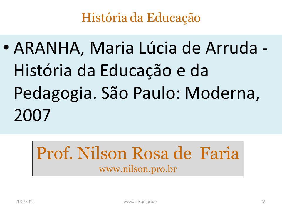 História da Educação ARANHA, Maria Lúcia de Arruda - História da Educação e da Pedagogia. São Paulo: Moderna, 2007 1/5/201422www.nilson.pro.br Prof. N