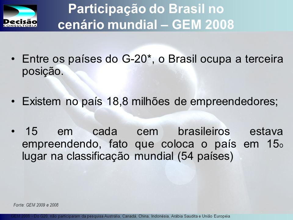 12 SEBRAE Serviço de Apoio às Micro e Pequenas Empresas do Estado de São Paulo Julio Alberto Glaser Monteiro Participação do Brasil no cenário mundial – GEM 2008 Entre os países do G-20*, o Brasil ocupa a terceira posição.
