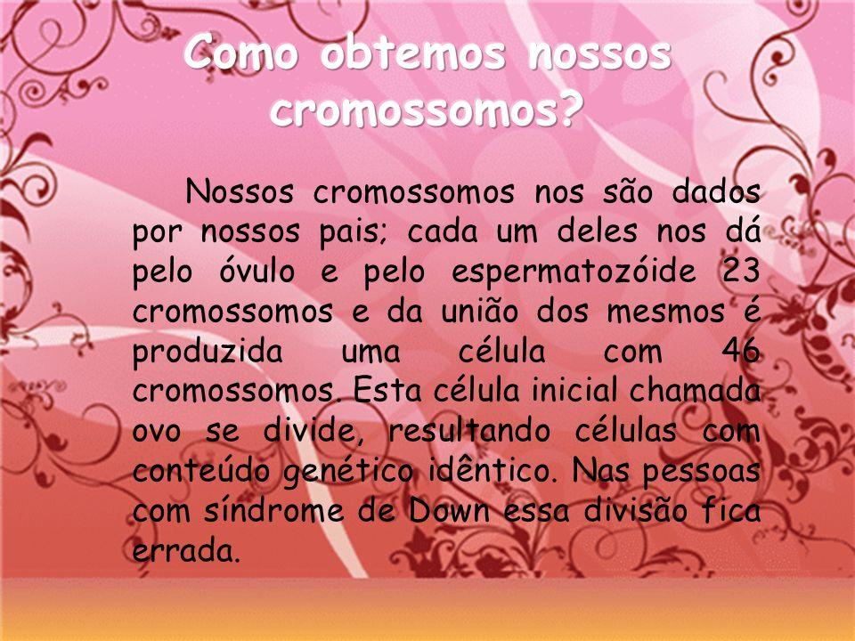 Nossos cromossomos nos são dados por nossos pais; cada um deles nos dá pelo óvulo e pelo espermatozóide 23 cromossomos e da união dos mesmos é produzi
