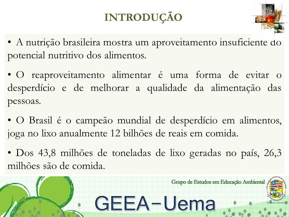 A nutrição brasileira mostra um aproveitamento insuficiente do potencial nutritivo dos alimentos.