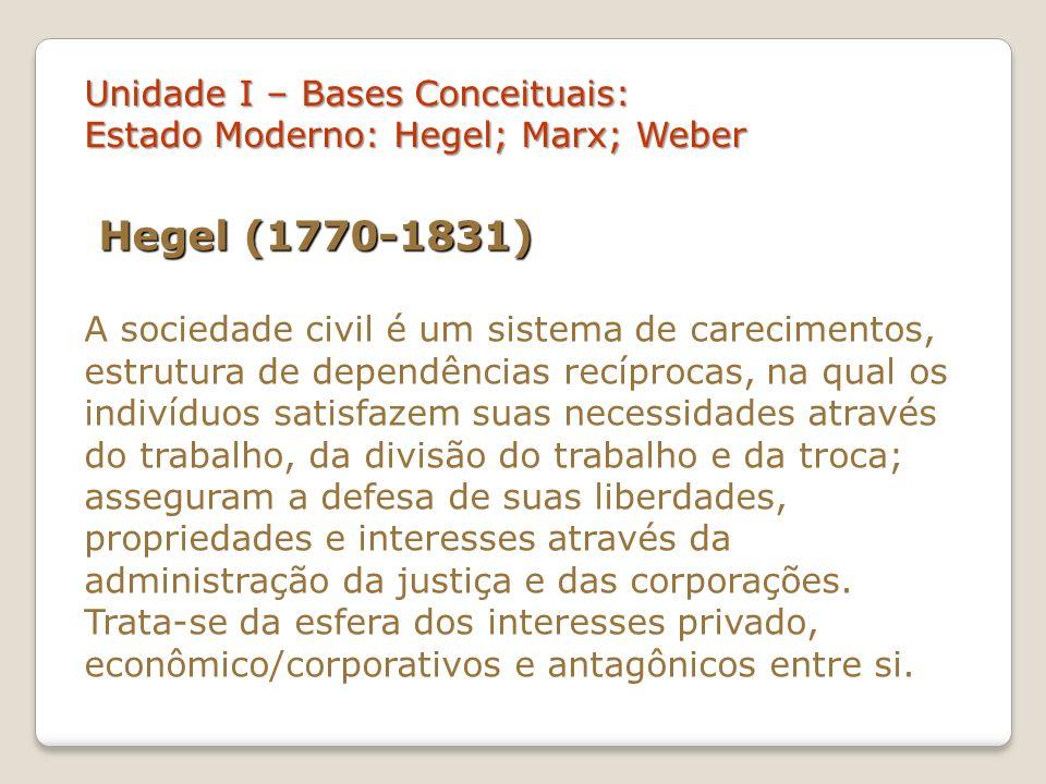 Unidade I – Bases Conceituais: Estado Moderno: Hegel; Marx; Weber Conforme Carnoy, para Hegel o Estado ideal envolve uma relação justa e ética da harmonia entre os elementos da sociedade.