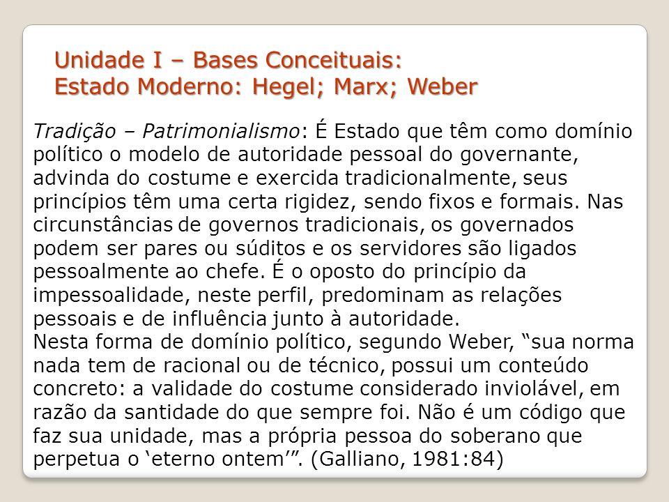 Unidade I – Bases Conceituais: Estado Moderno: Hegel; Marx; Weber Tradição – Patrimonialismo: É Estado que têm como domínio político o modelo de autor