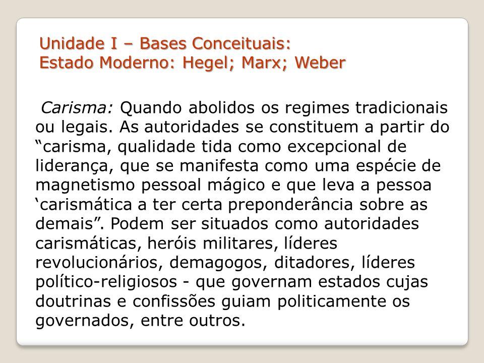 Unidade I – Bases Conceituais: Estado Moderno: Hegel; Marx; Weber Carisma: Quando abolidos os regimes tradicionais ou legais. As autoridades se consti