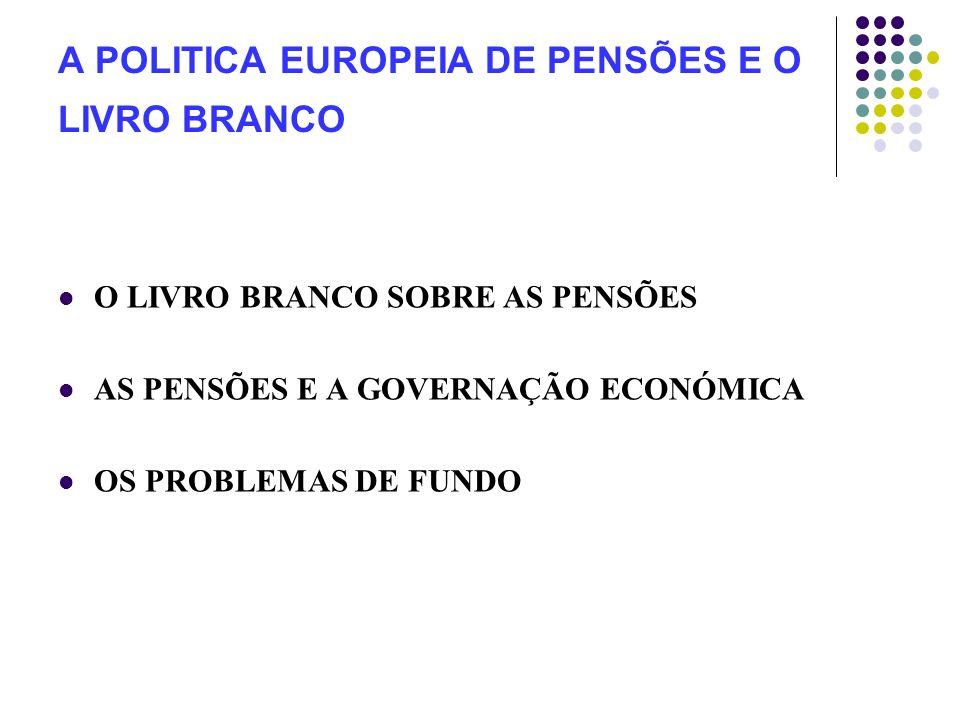 A POLITICA EUROPEIA DE PENSÕES E O LIVRO BRANCO O LIVRO BRANCO SOBRE AS PENSÕES AS PENSÕES E A GOVERNAÇÃO ECONÓMICA OS PROBLEMAS DE FUNDO