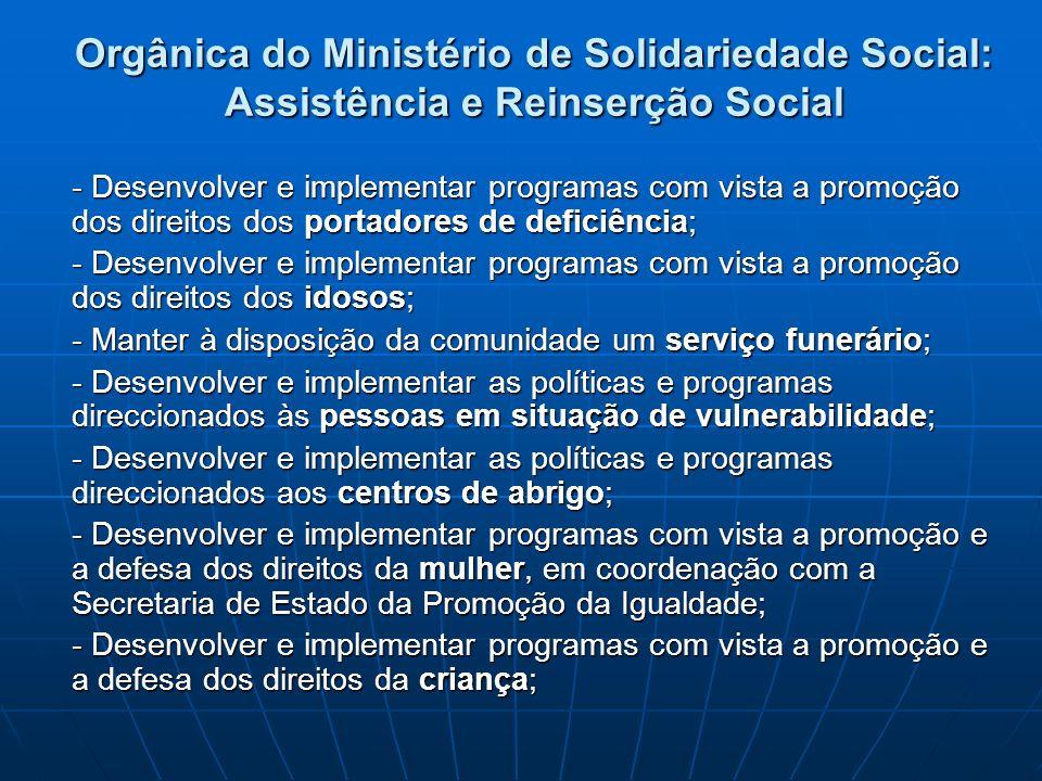 Orgânica do Ministério de Solidariedade Social: Assistência e Reinserção Social - Desenvolver e implementar programas com vista a promoção dos direito