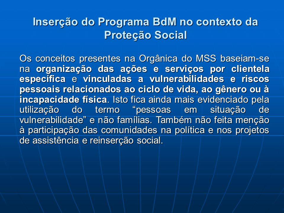 Inserção do Programa BdM no contexto da Proteção Social Os conceitos presentes na Orgânica do MSS baseiam-se na organização das ações e serviços por c