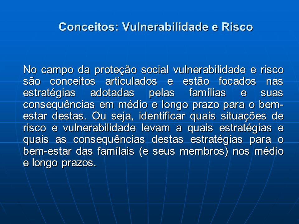 Conceitos: Vulnerabilidade e Risco No campo da proteção social vulnerabilidade e risco são conceitos articulados e estão focados nas estratégias adota