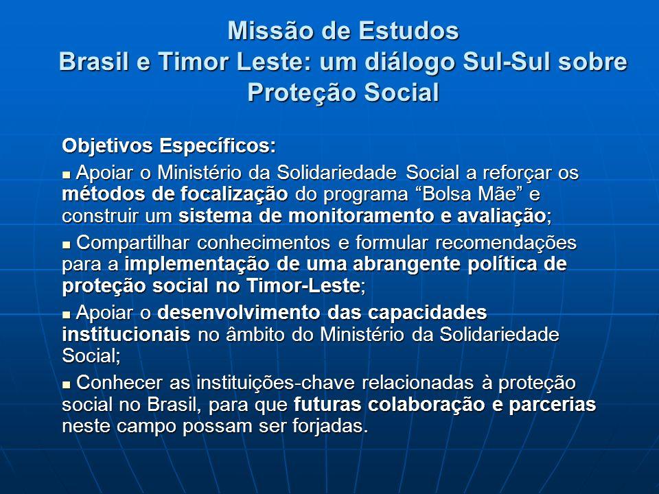 Missão de Estudos Brasil e Timor Leste: um diálogo Sul-Sul sobre Proteção Social Objetivos Específicos: Apoiar o Ministério da Solidariedade Social a