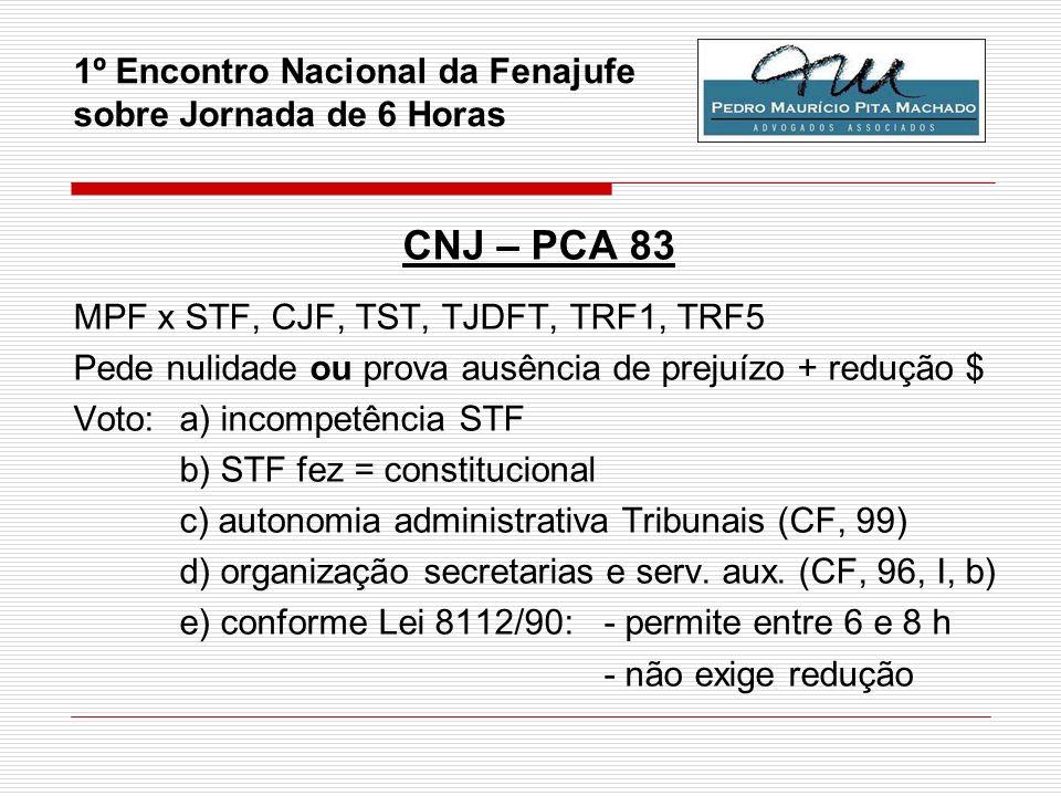 1º Encontro Nacional da Fenajufe sobre Jornada de 6 Horas CNJ – PCA 83 MPF x STF, CJF, TST, TJDFT, TRF1, TRF5 Pede nulidade ou prova ausência de preju