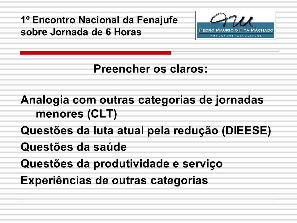 1º Encontro Nacional da Fenajufe sobre Jornada de 6 Horas Preencher os claros: Analogia com outras categorias de jornadas menores (CLT) Questões da lu