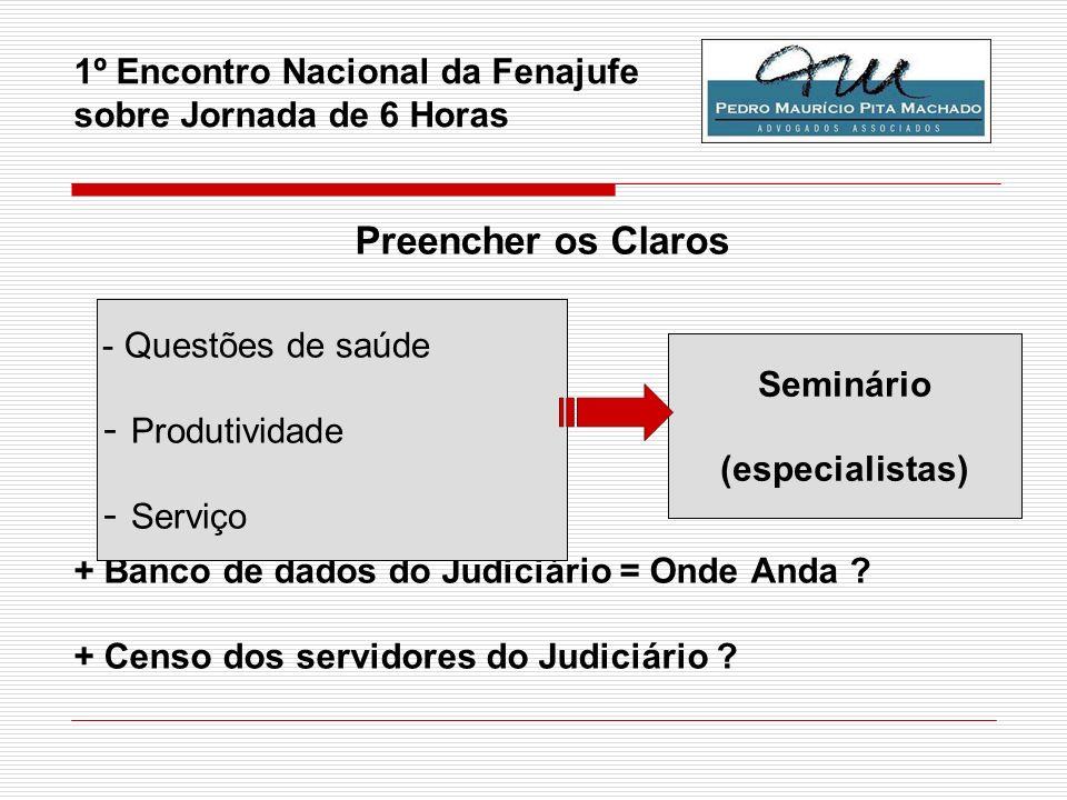 1º Encontro Nacional da Fenajufe sobre Jornada de 6 Horas Preencher os Claros + Banco de dados do Judiciário = Onde Anda ? + Censo dos servidores do J