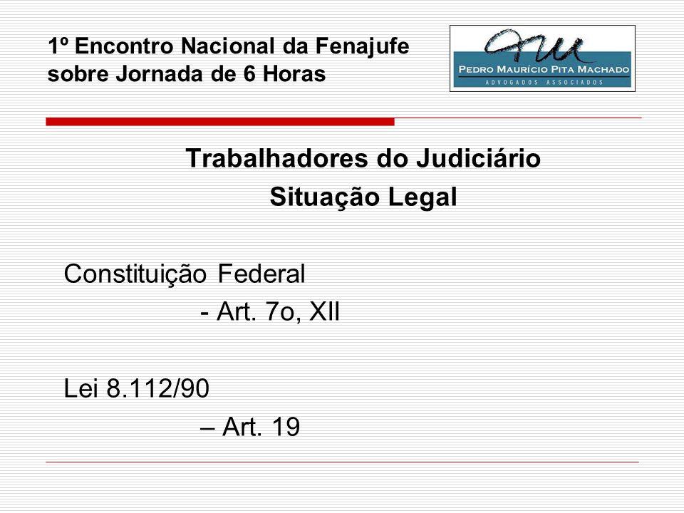 1º Encontro Nacional da Fenajufe sobre Jornada de 6 Horas Trabalhadores do Judiciário Situação Legal Constituição Federal - Art. 7o, XII Lei 8.112/90