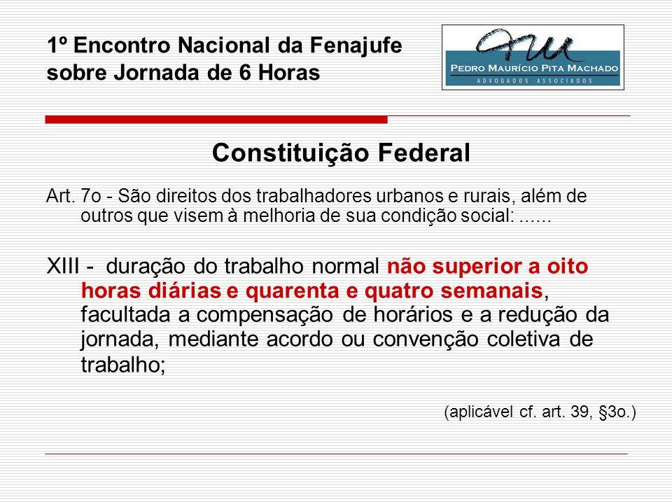 1º Encontro Nacional da Fenajufe sobre Jornada de 6 Horas Constituição Federal Art. 7o - São direitos dos trabalhadores urbanos e rurais, além de outr