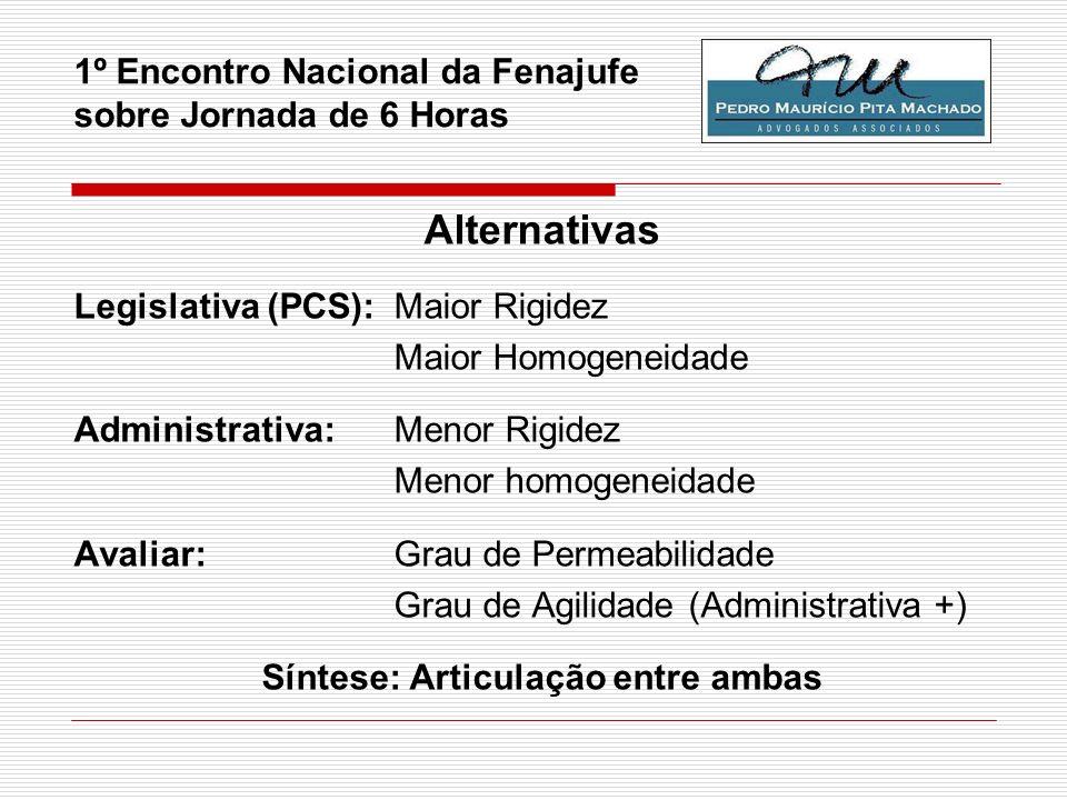 1º Encontro Nacional da Fenajufe sobre Jornada de 6 Horas Alternativas Legislativa (PCS):Maior Rigidez Maior Homogeneidade Administrativa: Menor Rigid