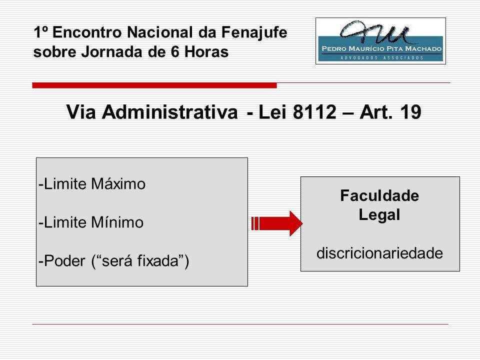 1º Encontro Nacional da Fenajufe sobre Jornada de 6 Horas Via Administrativa - Lei 8112 – Art. 19 - - Limite Máximo - Limite Mínimo - Poder (será fixa