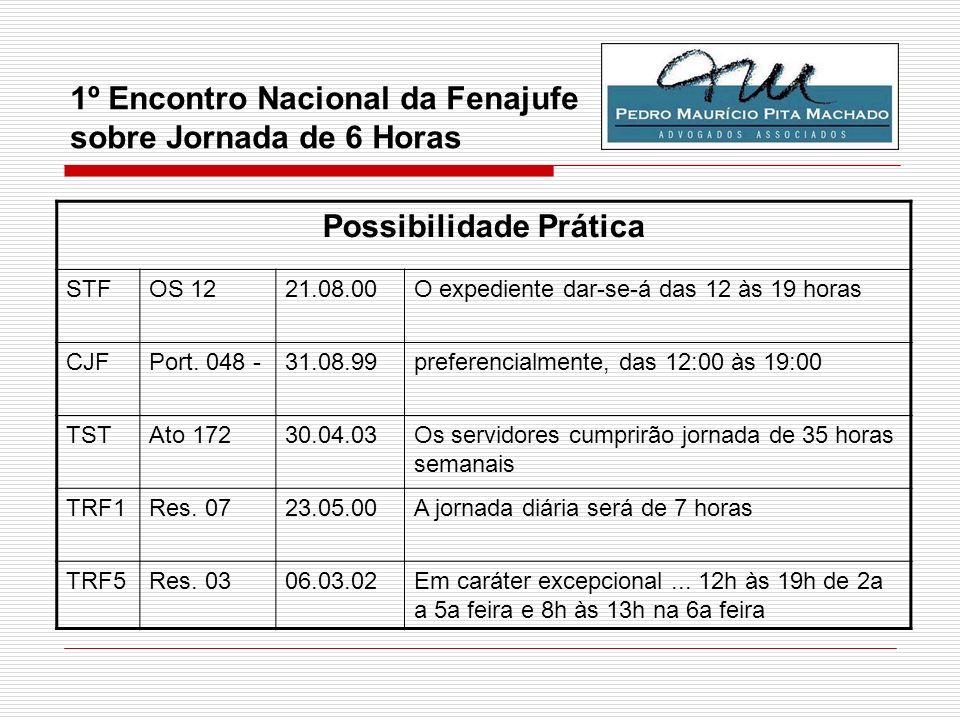 1º Encontro Nacional da Fenajufe sobre Jornada de 6 Horas Possibilidade Prática STFOS 1221.08.00O expediente dar-se-á das 12 às 19 horas CJFPort. 048