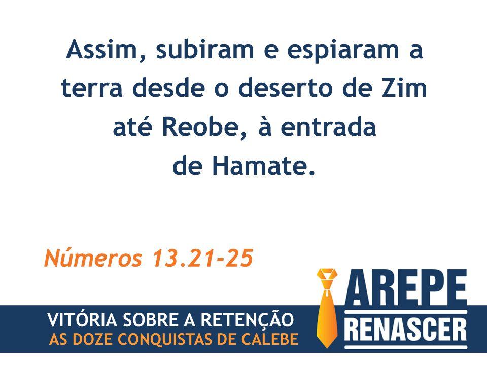 Assim, subiram e espiaram a terra desde o deserto de Zim até Reobe, à entrada de Hamate. Números 13.21-25 VITÓRIA SOBRE A RETENÇÃO AS DOZE CONQUISTAS
