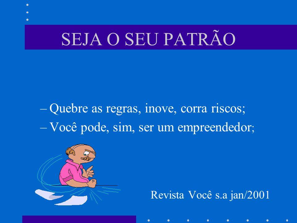 SEJA O SEU PATRÃO –Quebre as regras, inove, corra riscos; –Você pode, sim, ser um empreendedor ; – Revista Você s.a jan/2001