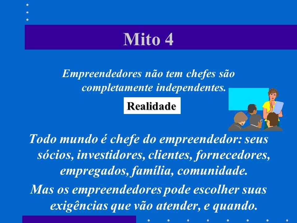 Mito 4 Empreendedores não tem chefes são completamente independentes. Todo mundo é chefe do empreendedor: seus sócios, investidores, clientes, fornece