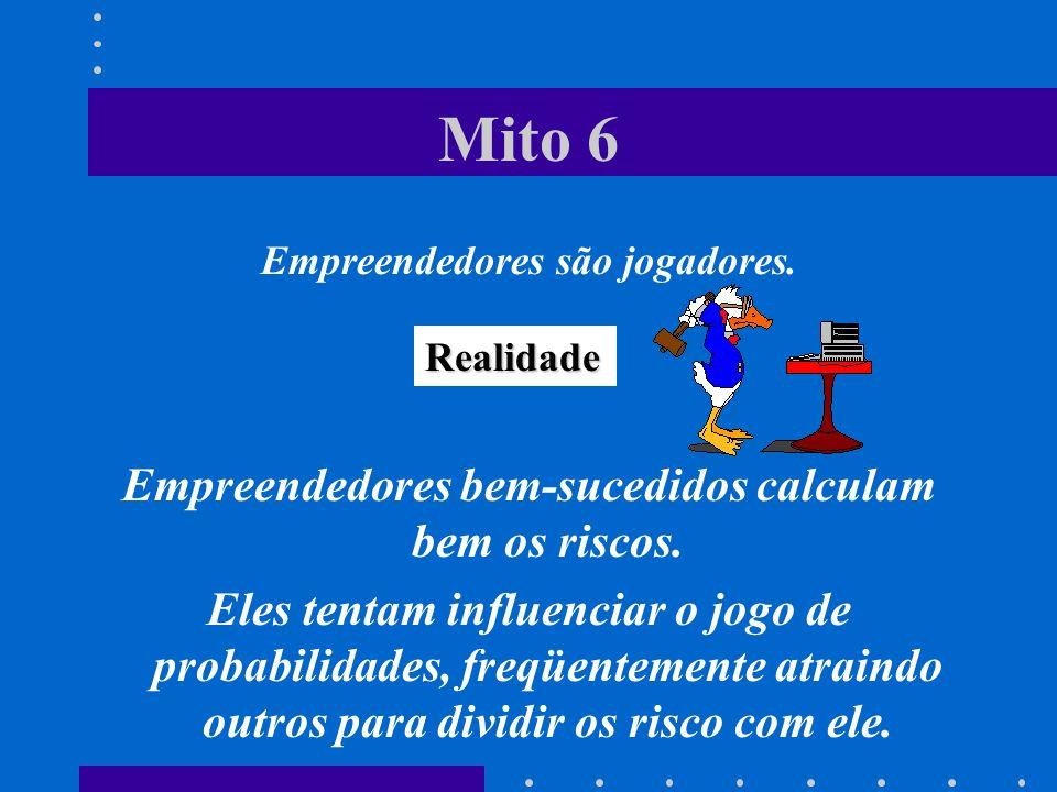 Mito 6 Empreendedores são jogadores.Empreendedores bem-sucedidos calculam bem os riscos.