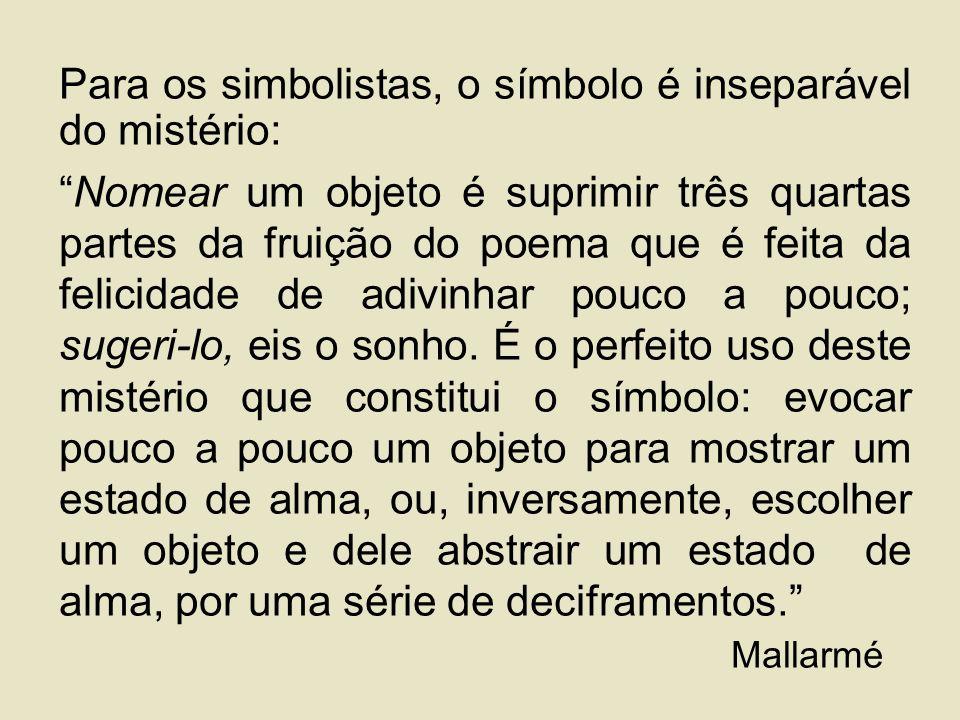 Para os simbolistas, o símbolo é inseparável do mistério: Nomear um objeto é suprimir três quartas partes da fruição do poema que é feita da felicidade de adivinhar pouco a pouco; sugeri-lo, eis o sonho.