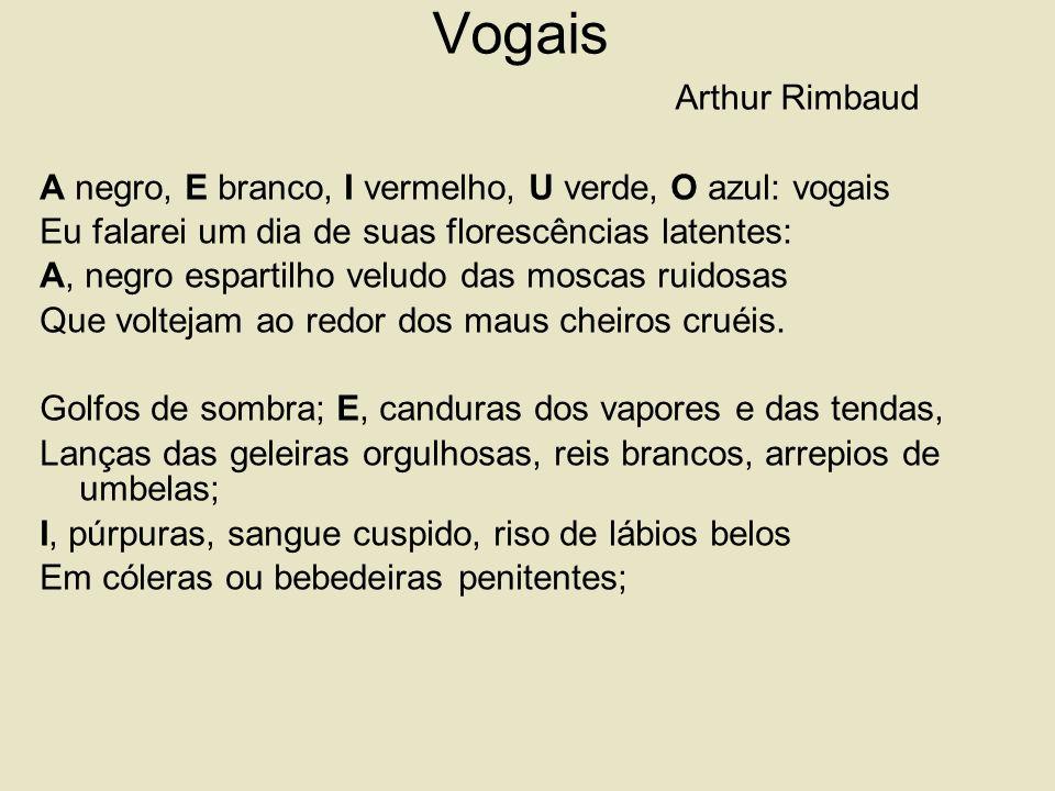 Vogais Arthur Rimbaud A negro, E branco, I vermelho, U verde, O azul: vogais Eu falarei um dia de suas florescências latentes: A, negro espartilho veludo das moscas ruidosas Que voltejam ao redor dos maus cheiros cruéis.
