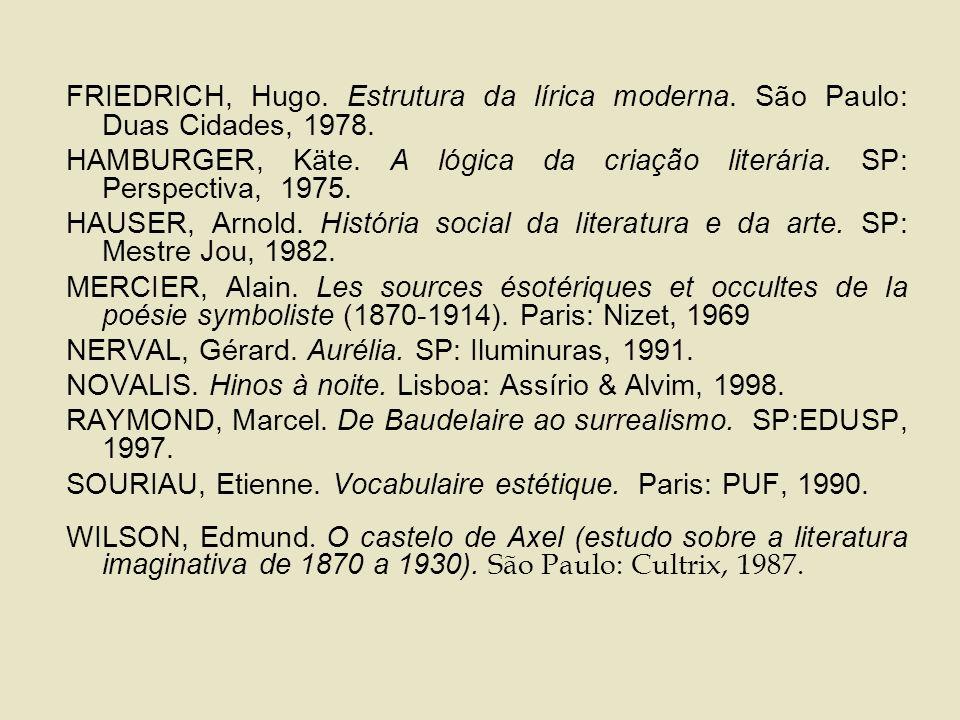 FRIEDRICH, Hugo.Estrutura da lírica moderna. São Paulo: Duas Cidades, 1978.