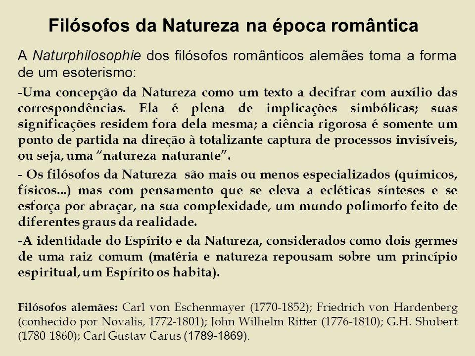 Filósofos da Natureza na época romântica A Naturphilosophie dos filósofos românticos alemães toma a forma de um esoterismo: - Uma concepção da Natureza como um texto a decifrar com auxílio das correspondências.