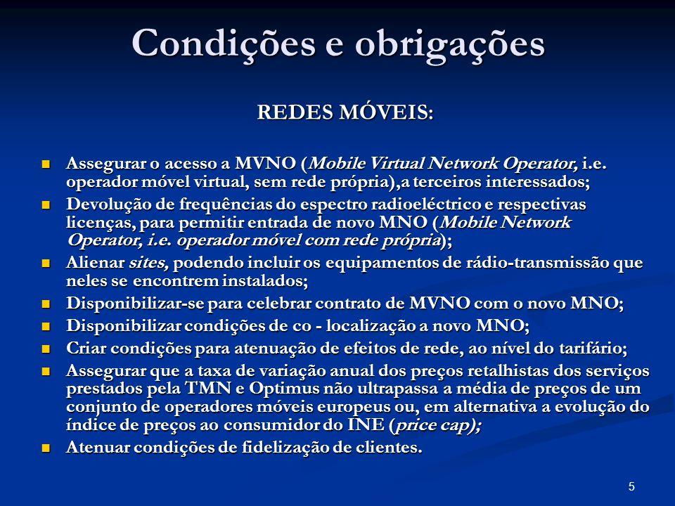 5 Condições e obrigações REDES MÓVEIS: Assegurar o acesso a MVNO (Mobile Virtual Network Operator, i.e.