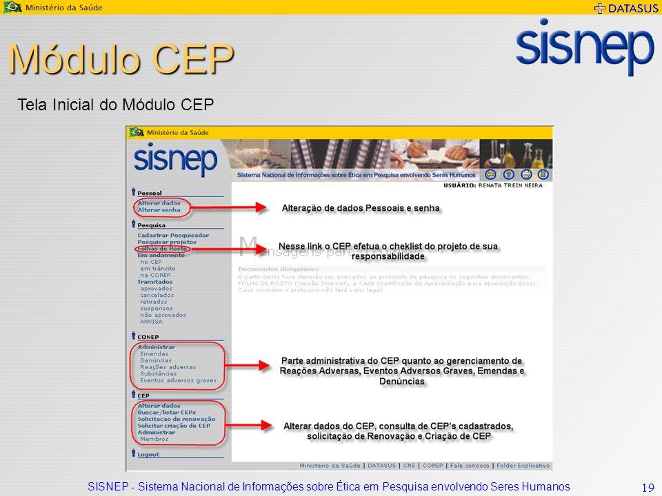 SISNEP - Sistema Nacional de Informações sobre Ética em Pesquisa envolvendo Seres Humanos 19 Módulo CEP Tela Inicial do Módulo CEP