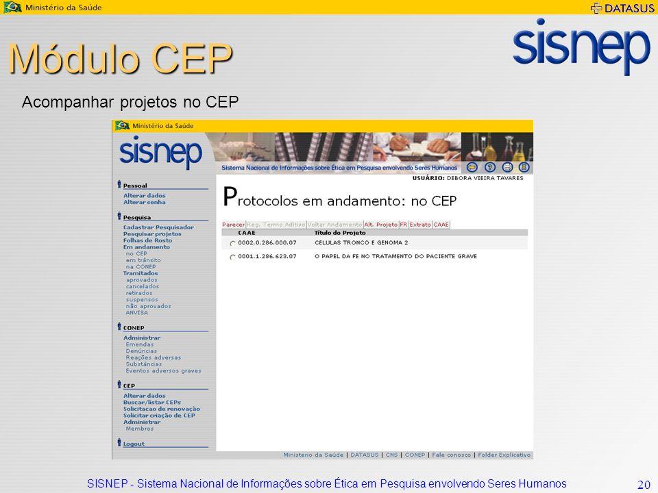 SISNEP - Sistema Nacional de Informações sobre Ética em Pesquisa envolvendo Seres Humanos 20 Módulo CEP Acompanhar projetos no CEP